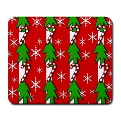 Christmas Tree Pattern   Red Large Mousepads by Valentinaart