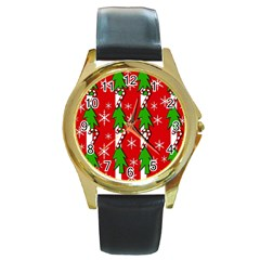 Christmas Tree Pattern   Red Round Gold Metal Watch by Valentinaart