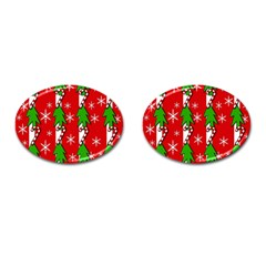Christmas Tree Pattern   Red Cufflinks (oval) by Valentinaart