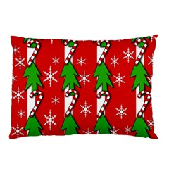 Christmas Tree Pattern   Red Pillow Case by Valentinaart