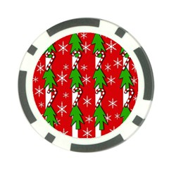 Christmas Tree Pattern   Red Poker Chip Card Guards (10 Pack)  by Valentinaart