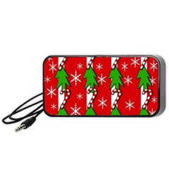 Christmas tree pattern - red Portable Speaker (Black)