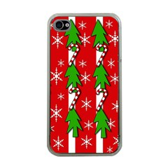 Christmas Tree Pattern   Red Apple Iphone 4 Case (clear) by Valentinaart