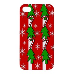 Christmas Tree Pattern   Red Apple Iphone 4/4s Hardshell Case by Valentinaart