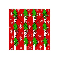 Christmas tree pattern - red Acrylic Tangram Puzzle (4  x 4 ) by Valentinaart