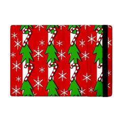 Christmas Tree Pattern   Red Apple Ipad Mini Flip Case by Valentinaart