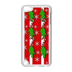 Christmas Tree Pattern   Red Apple Ipod Touch 5 Case (white) by Valentinaart