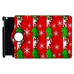 Christmas Tree Pattern   Red Apple Ipad 2 Flip 360 Case by Valentinaart