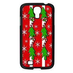 Christmas Tree Pattern   Red Samsung Galaxy S4 I9500/ I9505 Case (black) by Valentinaart