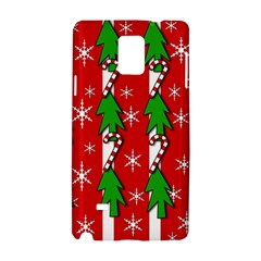 Christmas Tree Pattern   Red Samsung Galaxy Note 4 Hardshell Case by Valentinaart