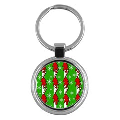 Christmas Pattern   Green Key Chains (round)  by Valentinaart