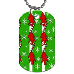 Christmas Pattern   Green Dog Tag (two Sides) by Valentinaart