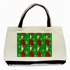 Christmas Pattern   Green Basic Tote Bag