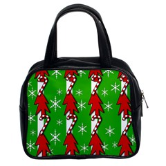 Christmas Pattern   Green Classic Handbags (2 Sides) by Valentinaart