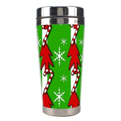 Christmas Pattern   Green Stainless Steel Travel Tumblers by Valentinaart