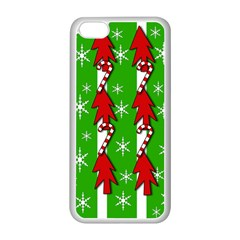 Christmas Pattern   Green Apple Iphone 5c Seamless Case (white) by Valentinaart