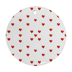 Cute Hearts Motif Pattern Round Ornament (two Sides)  by dflcprints