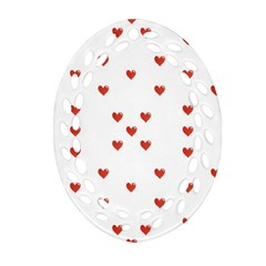 Cute Hearts Motif Pattern Ornament (oval Filigree)  by dflcprints