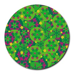 Christmas Decor   Green Round Mousepads by Valentinaart