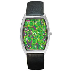 Christmas Decor   Green Barrel Style Metal Watch by Valentinaart