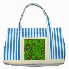 Christmas Decor   Green Striped Blue Tote Bag by Valentinaart