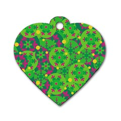 Christmas Decor   Green Dog Tag Heart (one Side) by Valentinaart