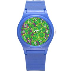 Christmas Decor   Green Round Plastic Sport Watch (s) by Valentinaart