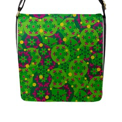 Christmas Decor   Green Flap Messenger Bag (l)  by Valentinaart