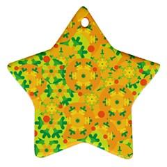 Christmas Decor   Yellow Ornament (star)  by Valentinaart
