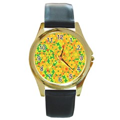 Christmas Decor   Yellow Round Gold Metal Watch by Valentinaart
