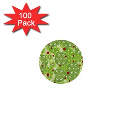 Green Christmas Decor 1  Mini Buttons (100 Pack)  by Valentinaart