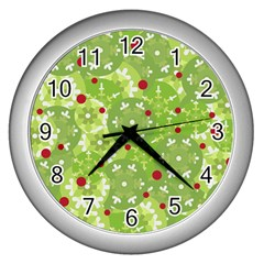 Green Christmas decor Wall Clocks (Silver)