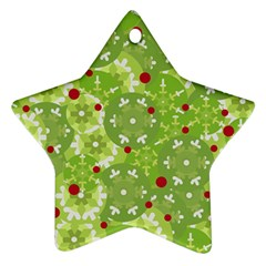 Green Christmas Decor Star Ornament (two Sides)  by Valentinaart