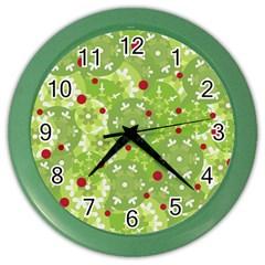 Green Christmas Decor Color Wall Clocks by Valentinaart