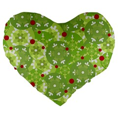 Green Christmas Decor Large 19  Premium Heart Shape Cushions by Valentinaart