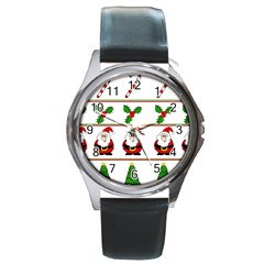 Christmas Pattern Round Metal Watch by Valentinaart
