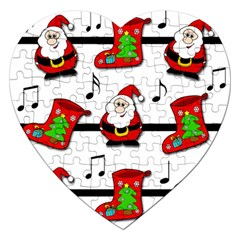 Christmas Song Jigsaw Puzzle (heart) by Valentinaart