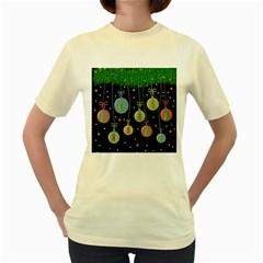 Christmas Balls   Pastel Women s Yellow T Shirt by Valentinaart