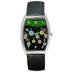 Christmas Balls   Pastel Barrel Style Metal Watch by Valentinaart
