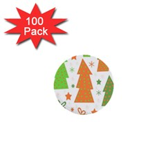 Christmas Design   Green And Orange 1  Mini Buttons (100 Pack)  by Valentinaart