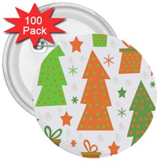 Christmas Design   Green And Orange 3  Buttons (100 Pack)  by Valentinaart