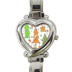 Christmas Design   Green And Orange Heart Italian Charm Watch by Valentinaart