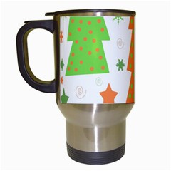 Christmas Design   Green And Orange Travel Mugs (white) by Valentinaart