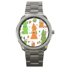 Christmas Design   Green And Orange Sport Metal Watch by Valentinaart