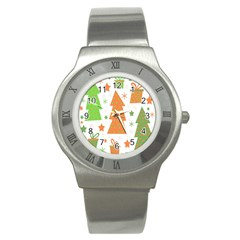 Christmas Design   Green And Orange Stainless Steel Watch by Valentinaart