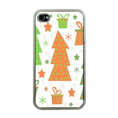 Christmas Design   Green And Orange Apple Iphone 4 Case (clear) by Valentinaart