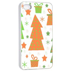 Christmas Design   Green And Orange Apple Iphone 4/4s Seamless Case (white) by Valentinaart