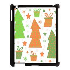 Christmas Design   Green And Orange Apple Ipad 3/4 Case (black) by Valentinaart
