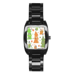 Christmas design - green and orange Stainless Steel Barrel Watch by Valentinaart