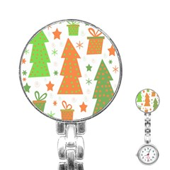 Christmas Design   Green And Orange Stainless Steel Nurses Watch by Valentinaart